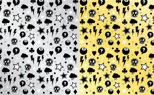 punk rock pattern sets various symbols decoration