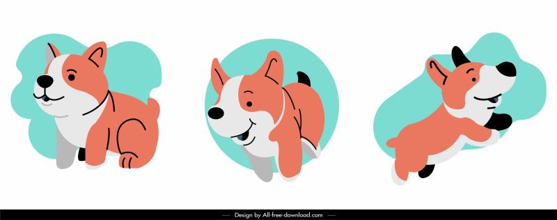 puppy icons cute cartoon sketch