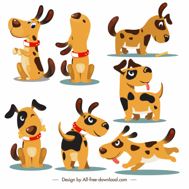 puppy icons cute emotion sketch cartoon design