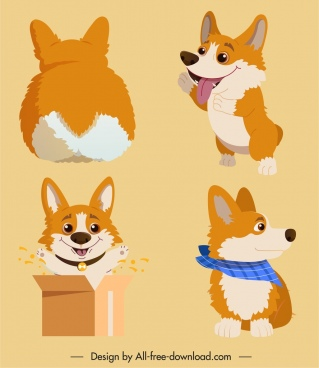 puppy icons cute stylized cartoon design