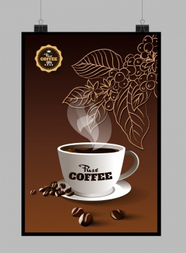 pure coffee advertisement brown design cup leaves icons