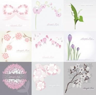 flowers card templates elegant bright classic decor
