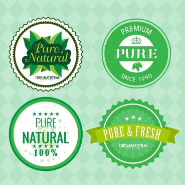 pure product seals green circles design