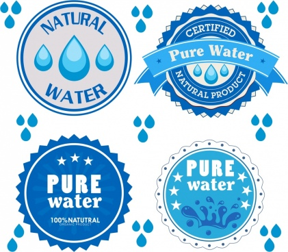 pure water logotypes blue circles isolation droplets icon