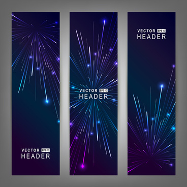 purple8 blue fireworks banners vector