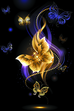 purple and golden butterflies vector background