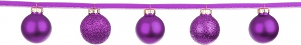 purple baubles on a ribbon