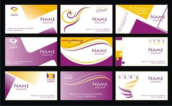 name card templates abstract design yellow purple ornament