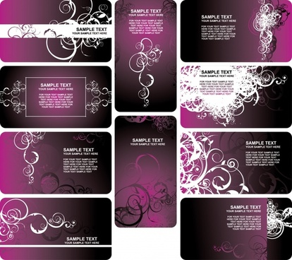 card templates collection dark violet design classical curves