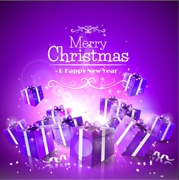 purple christmas gift box vector background