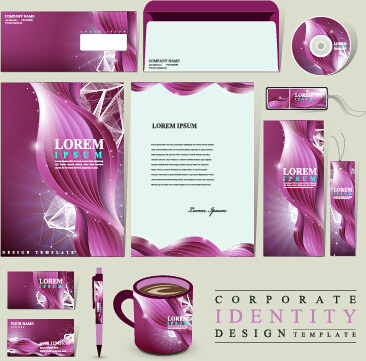 purple corporate identity kit vector