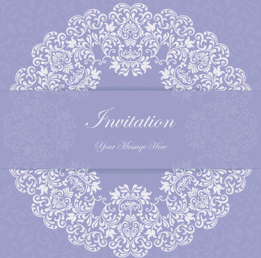 purple floral ornaments cards vector