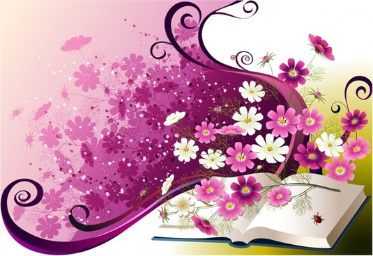 memory background book flora decor violet 3d design