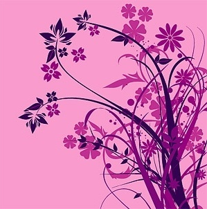 purple flower silhouette vector fashion