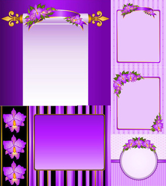 purple flowers decorative frame vector