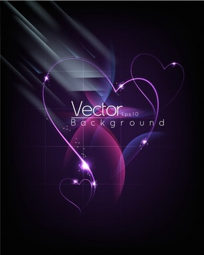 purple heart shaped halo background vector