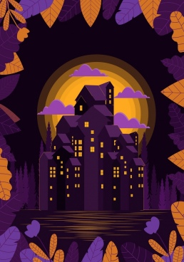 purple night drawing buildings moonlight leaves decoration
