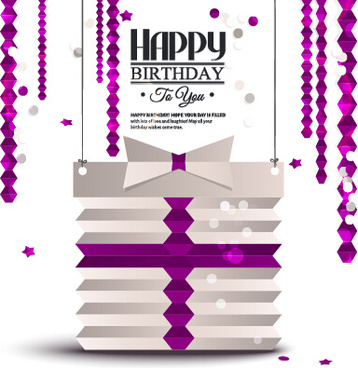 purple origami birthday card vector