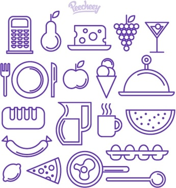 purple outlined food and drink icons
