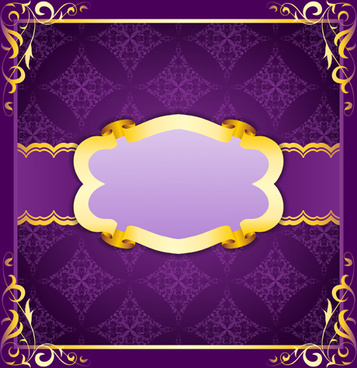 purple retro background with golden frame vector