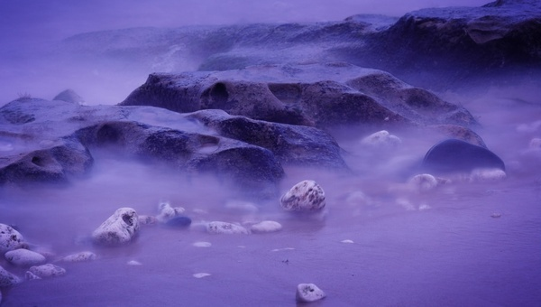 purple rocky coast