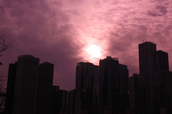 purple skies over chicago in chicago illinois