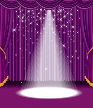 purple stage curtain vector