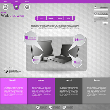 purple style business website creative template vector