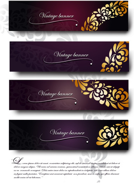 purple vintage backgrounds vector set