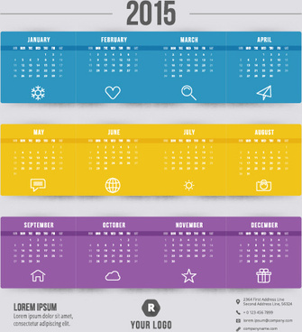 purple with blue and yellow15 calendar vector