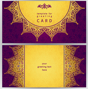 purple with golden ornate greeting cards vector