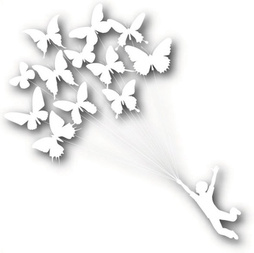 put butterfly kite silhouette vector