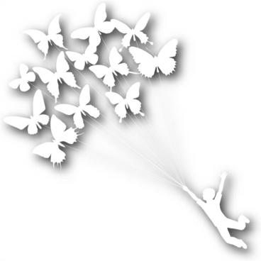 card decor element butterflies flying boy white silhouette