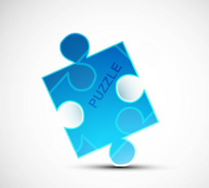 puzzle blue colorful shiny vector whit