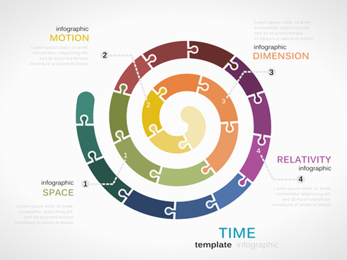 puzzle infographics template vector
