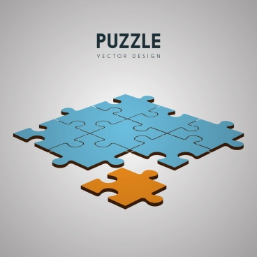 puzzle joints background colored 3d design