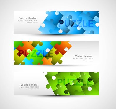 puzzle set of header colorful vector illustration