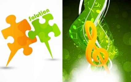 puzzle with music background art vector