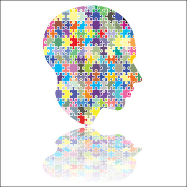 puzzles head design vector