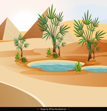 pyramid desert landscape painting bright colored classical design