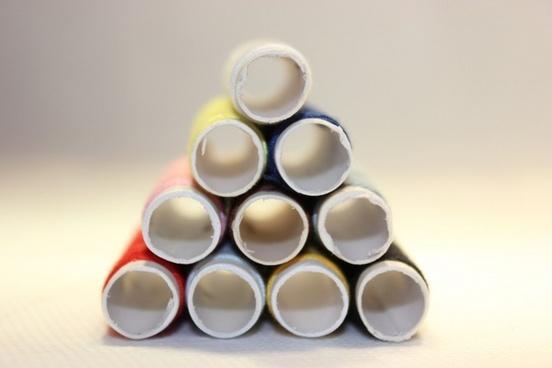 pyramid of thread bobbins