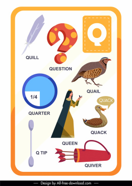 q alphabet education template colorful flat symbols sketch