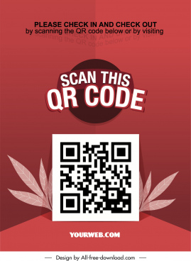 qr code scan poster red leaves decor