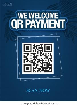 qr payment poster dark blue classic leaves decor