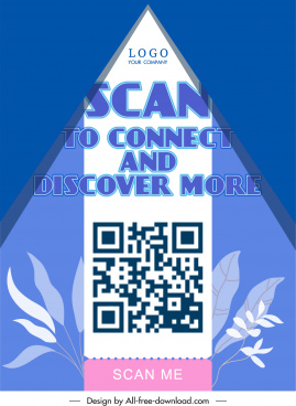 qr scan poster triangle light classic leaves decor