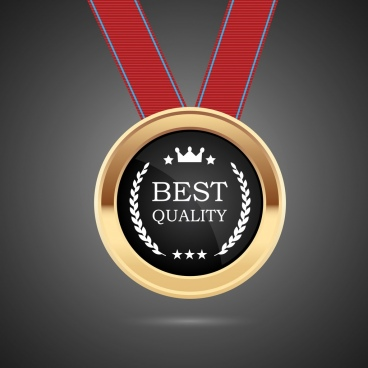 quality assurance badge medal icon shiny golden ornament