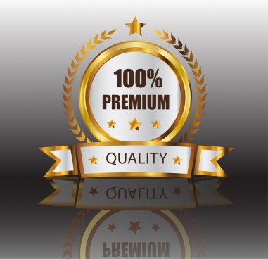 quality assurance label shiny golden decor 3d design