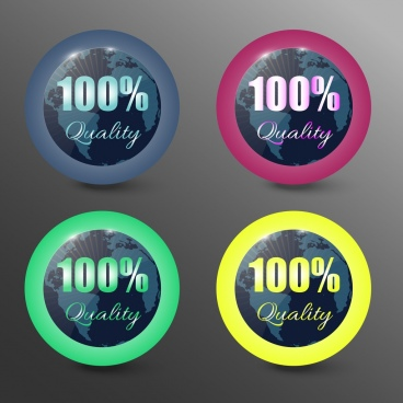 quality assurance stamps shiny circles modern style