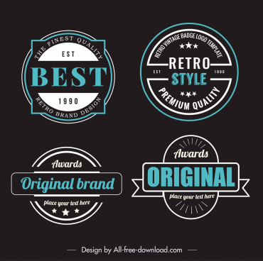 quality award badge templates dark flat retro decor