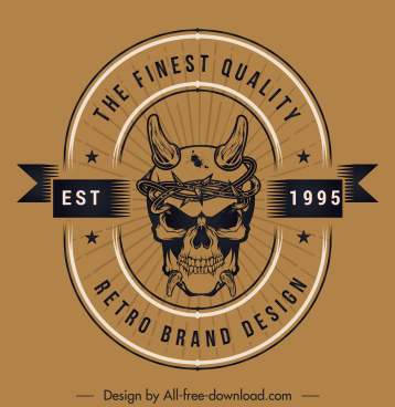 quality badge template scary skull sketch retro design
